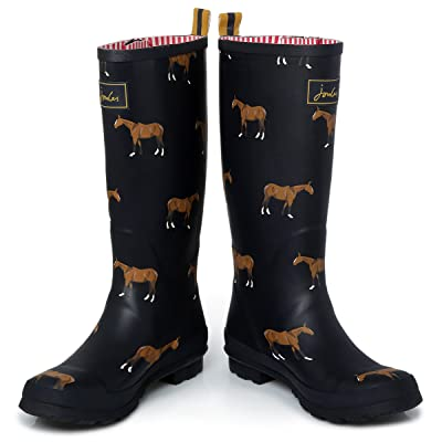 Joules O Welly Horse Print Navy Wellington Boots