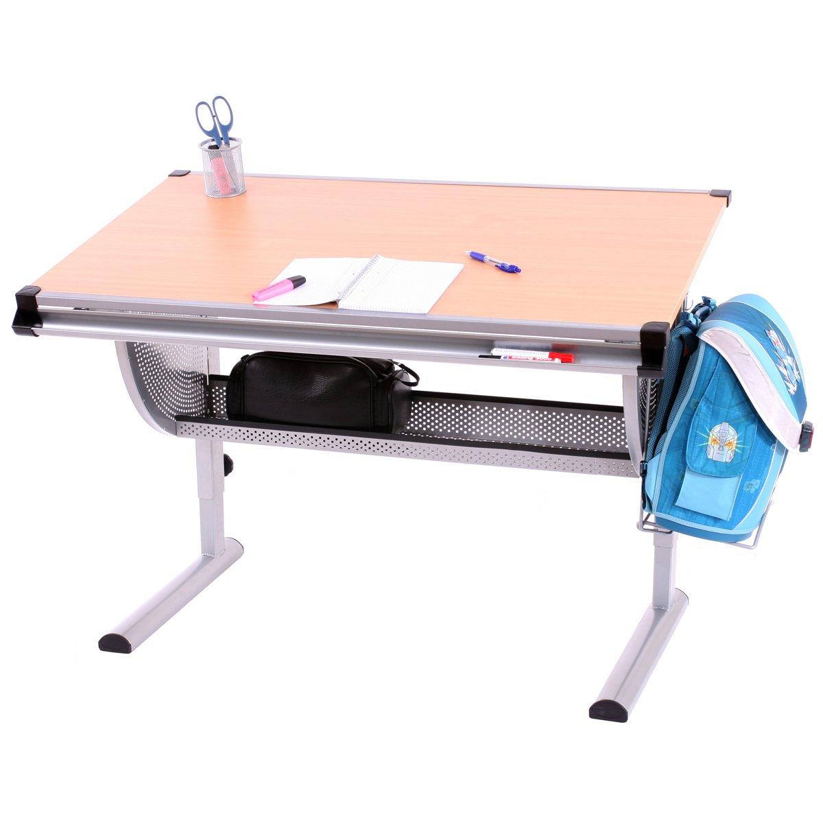 Kinderschreibtisch Schülerschreibtisch Schreibtisch Oxford, höhenverstellbar, neigbar ~ natur, Buche günstig
