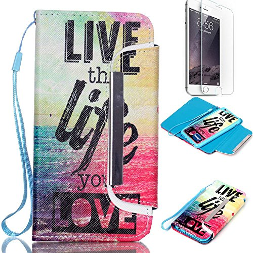 iPhone 6 6S Plus 5.5 inch Wallet Case,Nancy's shop Premium Ultra Slim Hybrid Series Scratch Proof Shock Absorbing PU Leather Flip Cover Folio with Foldable Stand Magnetic Card Holder Bumper (Life)