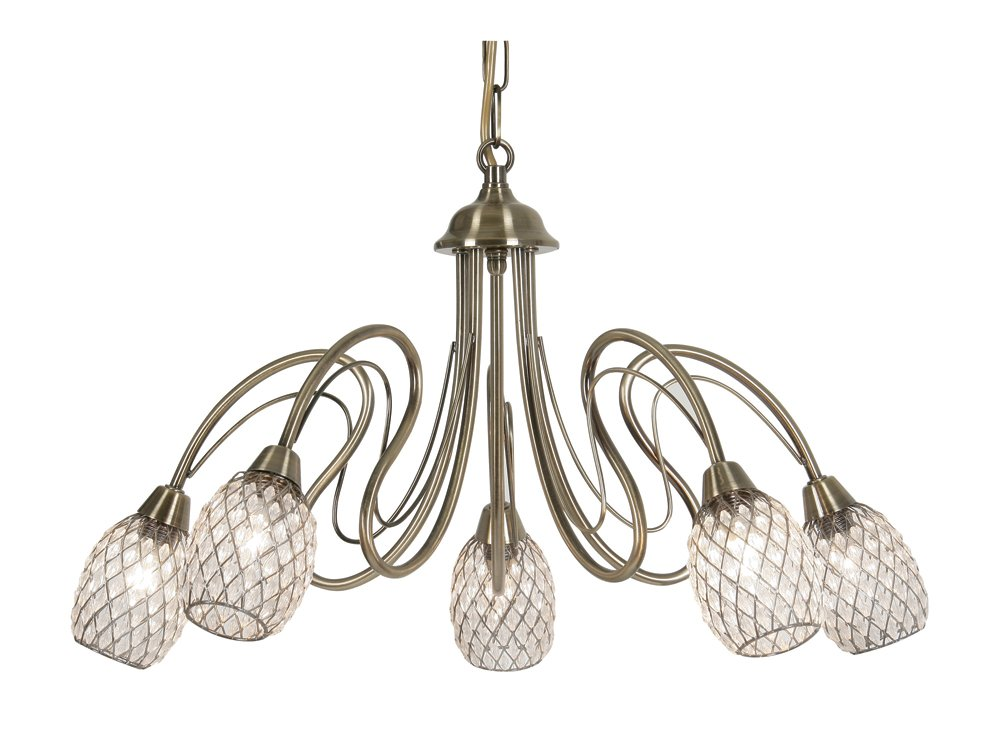 Oaks Lighting 3019 5 AB Askas Deckenlampe in Messing-Antik-Optik, mit Lampenschirmen aus Acryl Perlen