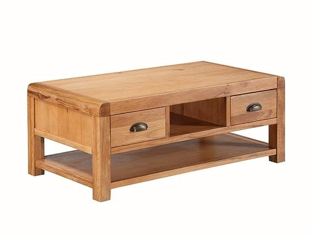 Oakville rovere massello Storage Coffee Table–Tavolino da caffè in rovere massiccio con 2cassetti e ripiano–Tavolino da caffè in legno di quercia con finiture, colore: rovere rustico–&nbs