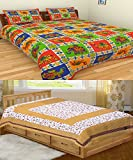 Bedding King Multicolor 100% Cotton Single and Double Bedsheets with 2 Pillow Covers combo