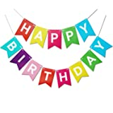 Letjolt Colorful Happy Birthday Banner Birthday Party Bunting Signs for Rainbow Birthday Decorations Nursery Hanging Outdoor Birthday Decor (Color: Multicolor)