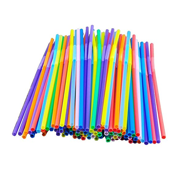 Colorful Extra Long Flexible Bendy Party Disposabl Drinking Straws, 100 Pieces (Color: A1, Tamaño: 6*260mm Long Bendy)