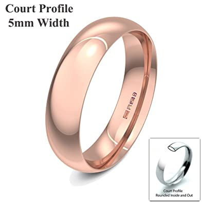 Xzara Jewellery - 9ct Rose 5mm Court Profile Hallmarked Ladies/Gents 3.7 Grams Wedding Ring Band