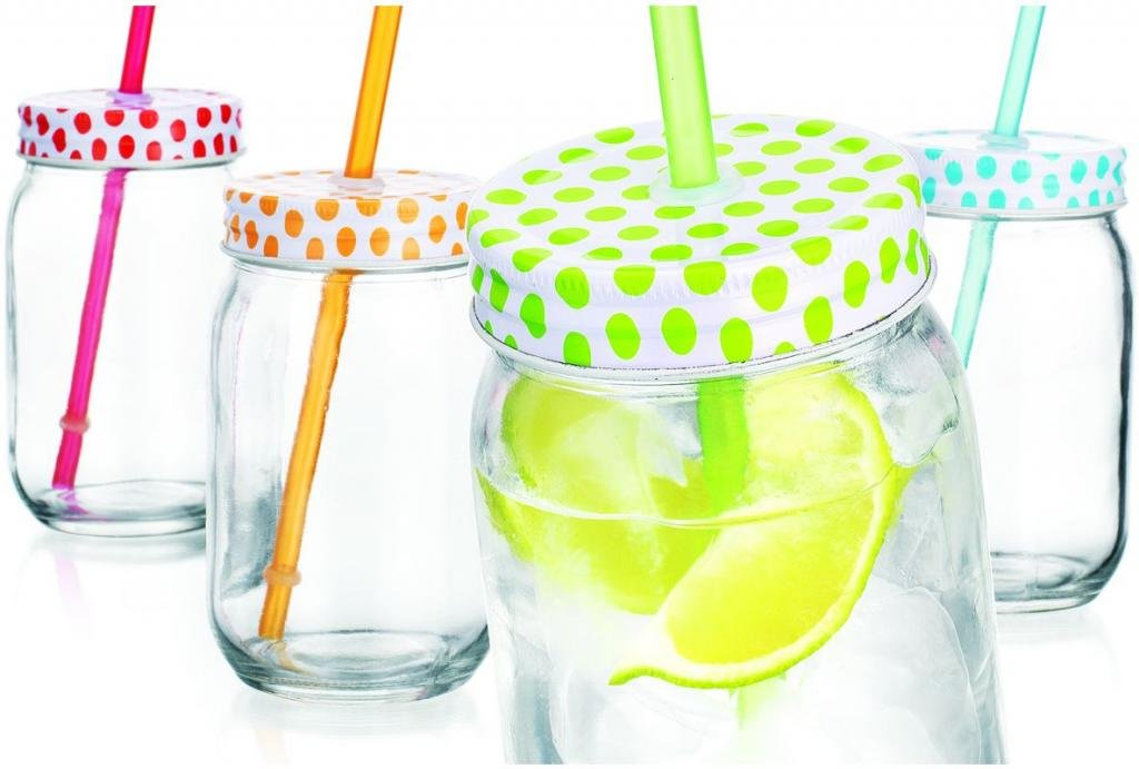Set of Four (4) 15-oz Colorful Polka Dots Mason Jar Beverage Cups | GFSMart