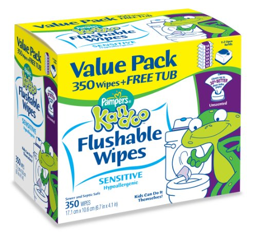 Pampers Kandoo Flushable Wipes, Sensitive Value Pack, 350 Count