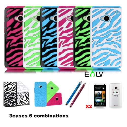 E Lv Three Pieces Interchangeable Zebra Design Hard And Soft Hybrid Armor Combo Case Skin Gel Bundle For Htc One M7 With 2 Screen Protectors, 2 Styluses And E Lv Microfiber Sticker Digital Cleaner (Black Blue/Black Green/White Hot Pink, Htc One M7)