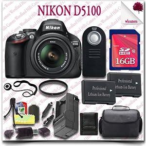 Nikon D5100 Digital SLR Camera with 18-55mm AF-S DX VR (Black) + 16GB SDHC Class 10 Card + SLR Gadget Bag + Wireless Remote 15pc Nikon Saver Bundle