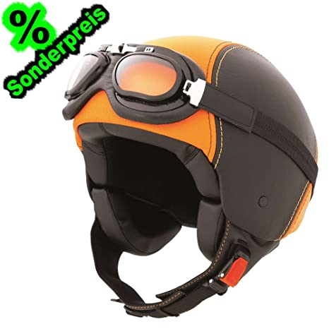 CABERG cENTURY casque jet en cuir-noir/orange