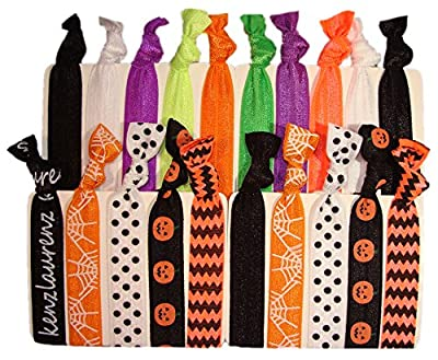 Halloween Hair Ties Ponytail Holders - 20 Pack No Crease Ouchless Stretchy Elastic Styling Accessories Pony Tail Holder Ribbon Bands - By Kenz Laurenz