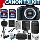 Canon EOS Rebel T3i 18 MP CMOS Digital SLR Camera USA warranty with canon EF-S 18-55mm f 3.5-5.6 IS [Image Stabilizer] II Zoom Lens & EF 75-300mm f 4-5.6 III Telephoto Zoom Lens + 17pc Bundle with 24GB Complete Deluxe Accessory Kit