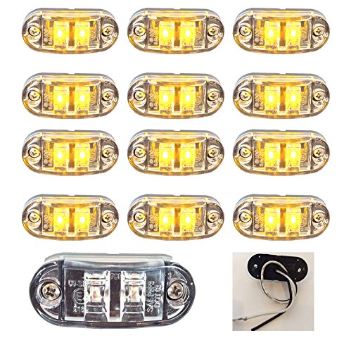 """12 New 2.6""""X1"""" Clear/Amber Surface Mount Led Clearance Marker Lights 12V For Trucks Campers Trailers Rvs El-112602Ca12"""