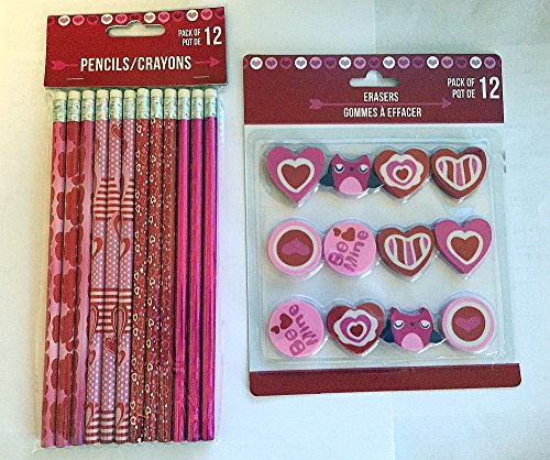 Valentines Day Themed Pencils and Erasers - 12 count each by Greenbrier