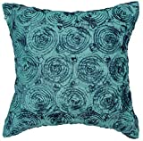 Avarada Solid Floral Bouquet Throw Pillow Cover Decorative Sofa Couch Cushion Cover Zippered 16x16 Inch (40x40 cm) Teal