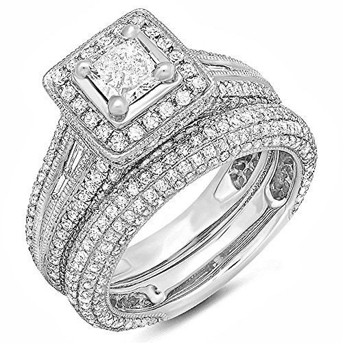 For sale 2.30 Carat (ctw) 14k White Gold Princess and Round Diamond Ladies Halo Style Bridal Engagement Ring Set With Matching Band 2 1/3 CT (Size 6.5)