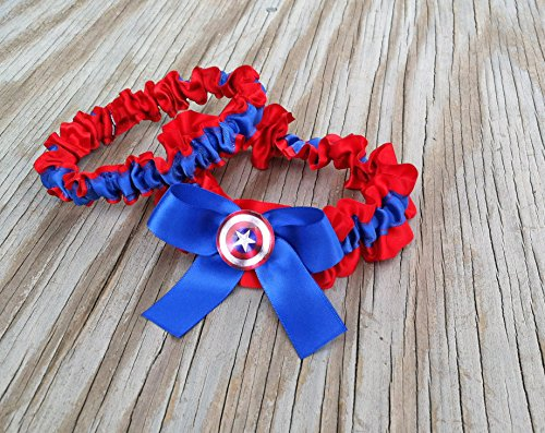 SEXY Superhero Character Inspired Red Royal Blue & Red Bridal Satin Wedding Keepsake Or Garter SET