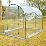 "Outsunny 98.4"" Dome Walk In Green House Grow Plants Vegetables Steel Hot Greenhouse Backyard Transparent"