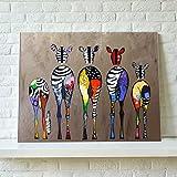 インテリア 動物 色とりどりのシマウマ 絵画 壁掛け キャンバス製 壁キャンバス絵画 壁アート アートパネル(額縁なし)75*50cm*1