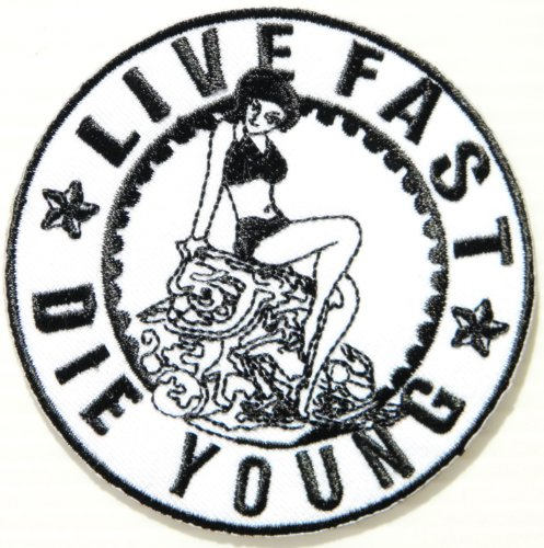 LIVE FAST DIE YOUNG Lady Biker Rider Racing Jacket T-shirt Vest Patch Sew Iron on Embroidered Badge Custom