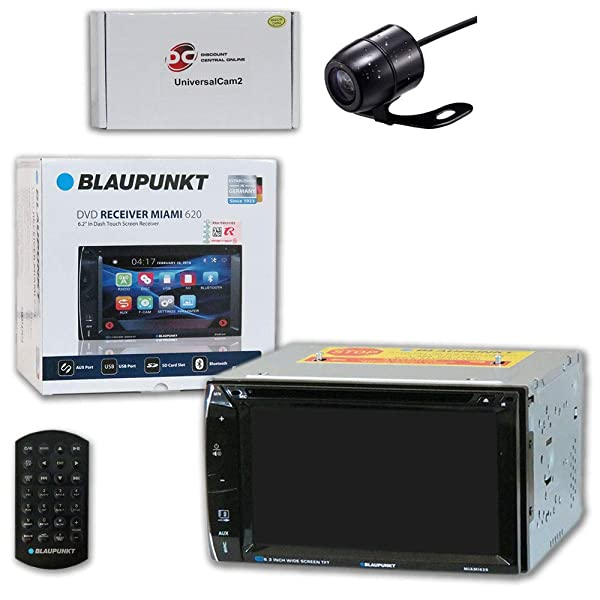 Blaupunkt Car Audio Double DIn 2DIN 6.2 Touchscreen DVD MP3 CD Stereo Bluetooth + Remote with DiscountCentralOnline SC09 Waterproof Nightvision Back-up Camera (Tamaño: SC09 Small camera)