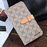 RAYTOP Luxury Classic Beige GG Patterned Leather Cases Kickstand for Apple iPhone 6 Plus 5.5 Inches Flip Covers...