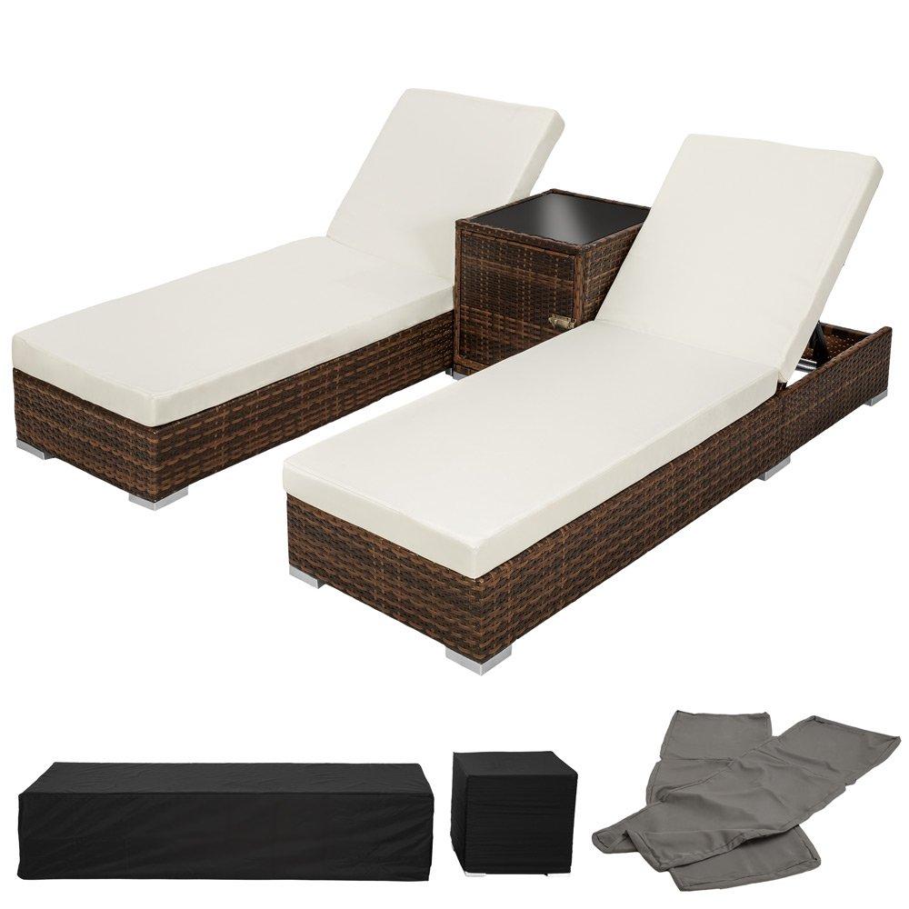 TecTake 2x Aluminium Polyrattan Sonnenliege + Tisch Gartenmöbel Set – schwarz braun – inkl. 2 Bezugsets + Schutzhülle, Edelstahlschrauben jetzt bestellen