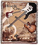 "Rock n' Roll ""Rock On"" Guitar Decorative Woven Afghan Throw Blanket 50"" x 60"""