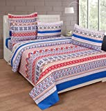 BeautifulHOMES Gorgeous Cotton Double Bedsheet With 2 Pillow Cover - Blue and Beige