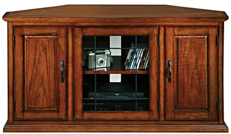 "Leick Furniture Leaded Glass 50"" Corner TV Stand, Burnished Oak"