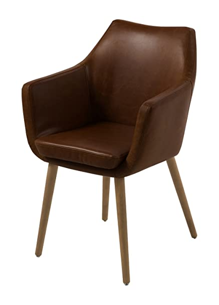 AC Design Furniture, 59099, Sedia con braccioli Trine, 58 x 58 x 84 cm, seduta in poliuretano effetto pelle, Marrone (Braun)