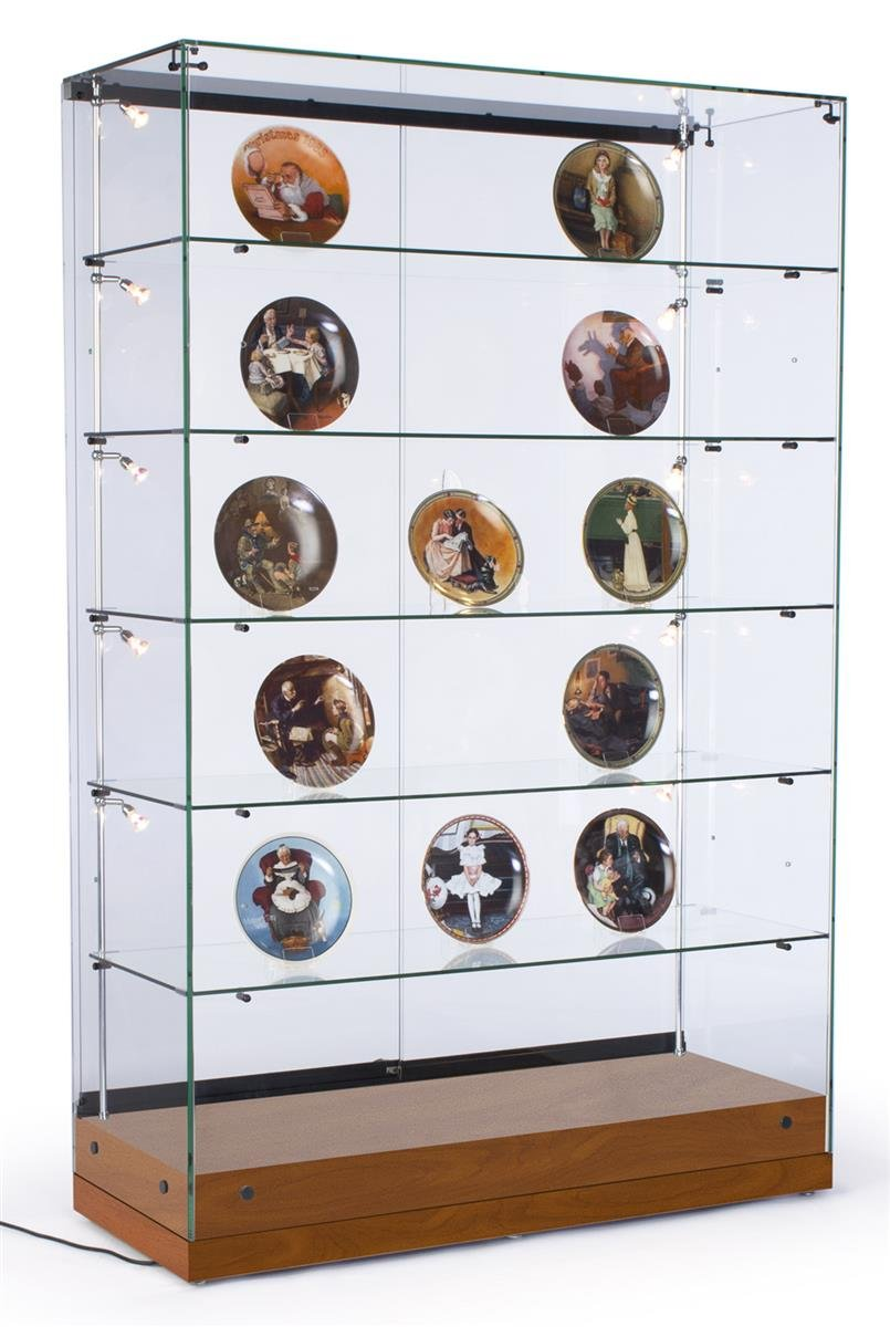 """48""""w Glass Curio Cabinet with 10 Side Lights and 5 Height-Adjustable Glass Shelves, Display Case Tower Includes Sliding Glass Doors - Cherry Laminate, MDF Base"""