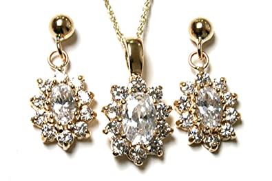 9ct Gold Cubic Zirconia cluster Pendant and Earring set.
