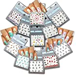 Nail Art Water Tattoo Decals - Variety Designs & Colors ♥ Butterflies ♥ Flowers ♥ Stems, 11 - pack