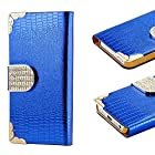 myLife Royal Blue - Crocodile Design - Textured Koskin Faux Leather (Card and ID Holder + Magnetic Detachable Closing) Slim Wallet for iPhone 5/5S (5G) 5th Generation iTouch Smartphone by Apple (External Rugged Synthetic Leather With Magnetic Clip + Internal Secure Snap In Hard Rubberized Bumper Holder)