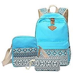 Abshoo Canvas Dot Backpack Cute Lightweight Teen Girls Backpacks School Shoulder Bags (Sky Blue)
