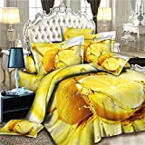 Home Textile Fruits Yellow Lemon 3d Bedding Set, 4pcs Bedding Set Queen Size Duvet Cover ?Bed Sheet ?Pillow Case :100% Cotton Christmas Gift, (Comforter Not Included)