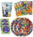 Bric Tek Birthday Party Supplies Set Plates Napkins Cups Kit for 16 Plus Stickers