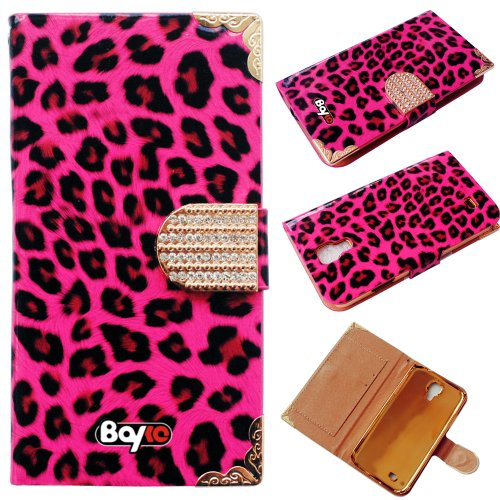 Bayke Brand / Samsung Galaxy S4 Galaxy SIV i9500 Luxury Leopard Print PU Leather Wallet Type Magnet Design Glitter Bling Crystal Rhinestone Flip Case Cover with Credit Card Holder Slots (Hot Pink)
