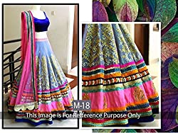 RAMAPIR FASHION BLUE PINK LEHENGA CHOLI