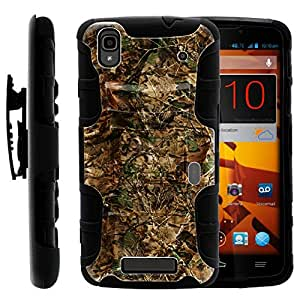 ZTE Max Boost Case   Rugged Armor Series Impact Hard Rubber Durable Unique Creative Cover + Belt Clip ZTE ZTE Max Boost+ by Miniturtle - Hunting Leaves Camo