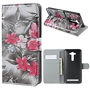 Beautiful Design Wallet Leather Stand Case Flip Cover With Card Slot For Asus Zenfone 2 Laser ZE550KL ZE551KL - Red Flowers