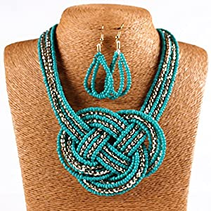 ARICO Jewelry Set Big Boho Bohemian Necklace Beads Multilayer Necklace Set African Beads Jewelry Sets Gold Plated NB358