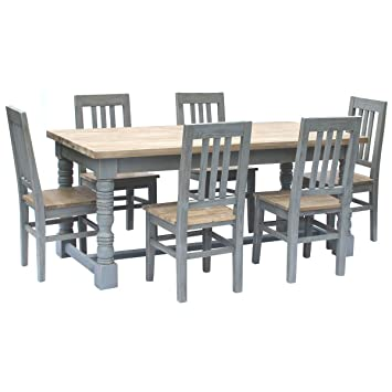 Charles Bentley Home Reclaimed Grey Dining Table Set (6 Chairs) Fir Wood Natural Finish