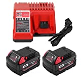 4.0Ah Replacement Battery for Milwaukee 18V Lithium-ion XC Battery and Charger Compatible with 48-11-1811 48-11-1815 48-11-1820 48-11-1822 48-11-1828 48-11-1840 48-11-1841 48-11-1850