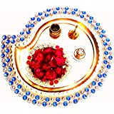 Aaatshop Handmade Decorative Gold Plated Pooja Thali / Aarti Thali Set Of 5 Pieces