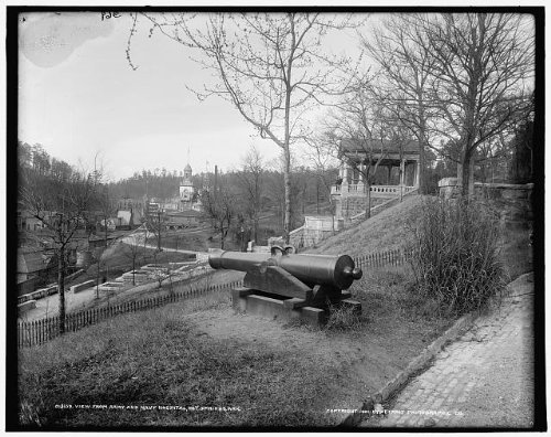 Photo: View,Army,Navy Hospital,cannons,weapons,guns,Hot Springs,Arkansas,AR,c1901
