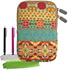 ColorYourLife Bundle of Canvas Fabric Bohemian style 7-inch Tablet Sleeve Case Bag for Samsung Galaxy Tab 3 Barnes & Noble NOOK HD Google Nexus 7 (2013) / HP Slate 7 Extreme / HP Slate 7 / Dell Venue 7 / Acer Iconia B1-720 / Asus MeMO Pad HD 7 with 2 Stylus Pens and Microfiber Cleaning Cloths (Colorful Bohemian pattern, 7 inch)