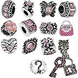 Timeline Trinketts Pink Charm Bracelet Beads Fits Pandora Jewelry Rhinestone Birthstone