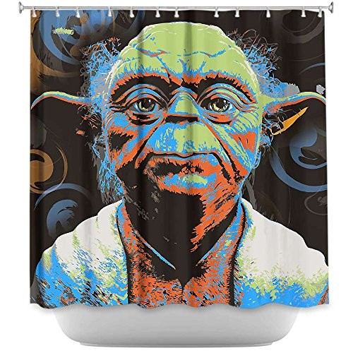 Shower Curtain Artistic Designer from DiaNoche Designs by Arist Ty Jeter Unique, Cool, Fun, Funky, Stylish, Decorative Home Decor and Bathroom Ideas - Yoda